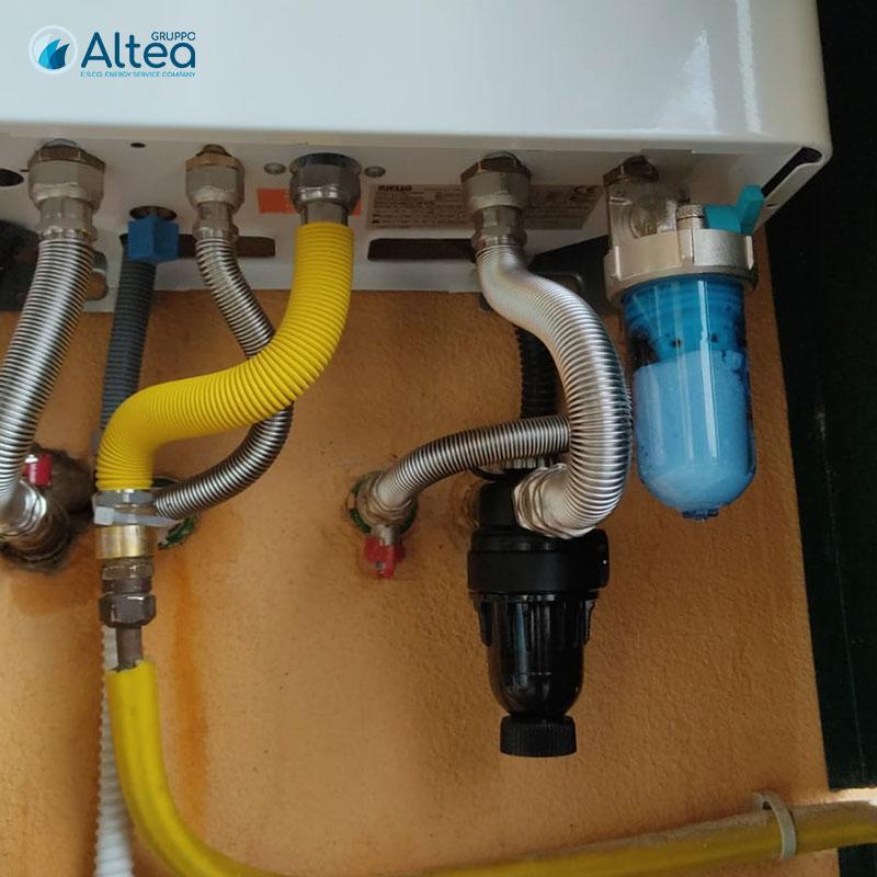 impianto caldaia con filtri e defangatore