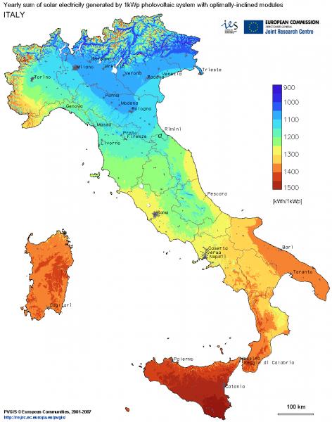 mappa solare termica Italiana